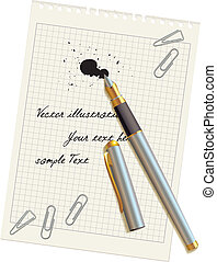 penna, uno, macchia, su, il, vuoto, carta