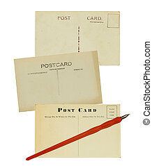 penna, vecchio, cartoline, scrittura
