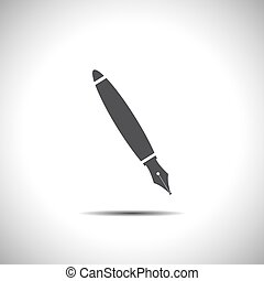 penna, vektor, fontän, ikon