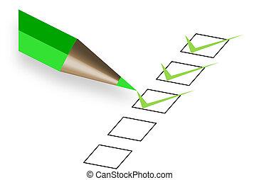 penna, verde, questionario