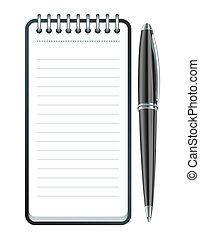 penna, vettore, blocco note, icona