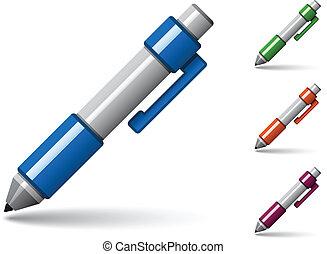 penna, vettore, colorato, lucido, icone