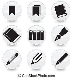 penna, vettore, libri, bookmarks, icone