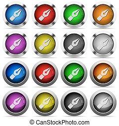 penna, vettore, set, bottone