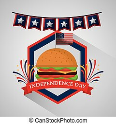 american independence day - pennant and burger food for...