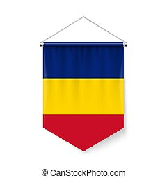 Pennant Flag Icon of Romania - Vertical Pennant Flag of...