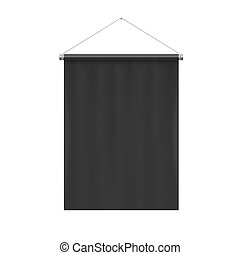 Pennant Template - Vertical Black Blank Pennant Hanging on a...