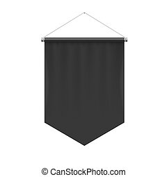 Pennant Template - Vertical Black Pennant Hanging on a...