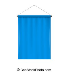 Pennant Template - Vertical Blue Blank Pennant Hanging on a...