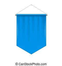 Pennant Template - Vertical Blue Pennant Hanging on a White....