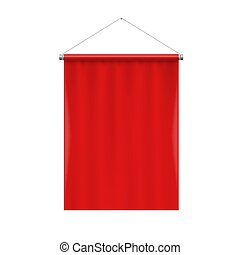 Pennant Template - Vertical Red Blank Pennant Hanging on a...