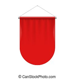 Pennant Template - Vertical Red Pennant Flag Award Banner on...