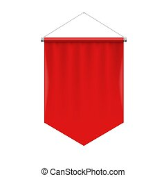 Pennant Template - Vertical Red Pennant Hanging on a White. ...