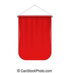 Pennant Template - Vertical Red Pennant Hanging on a White....