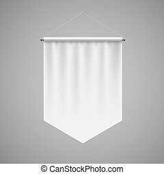Pennant Template - Vertical White Pennant Hanging on a Gray...