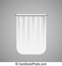 Pennant Template - Vertical White Pennant Hanging on a Gray ...
