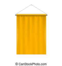Pennant Template - Vertical Yellow Blank Pennant Hanging on...