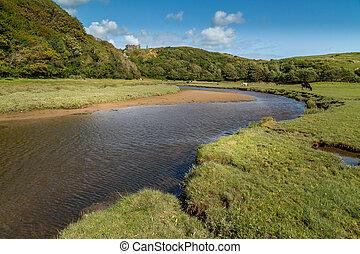 Pennard Castle at Three Cliffs Bay, Swansea, UK