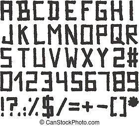 pennarello, alfabeto, stile, blocco