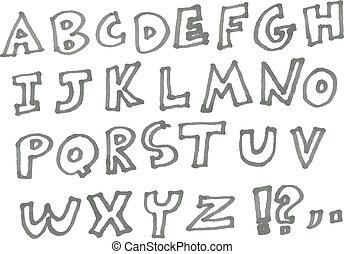 pennarello, alfabeto