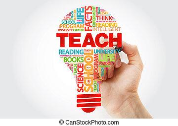 pennarello, bulbo, insegnare, parola, nuvola