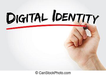 pennarello, digitale, identità, scrittura mano