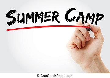 pennarello, estate, campeggiare, mano, scrittura