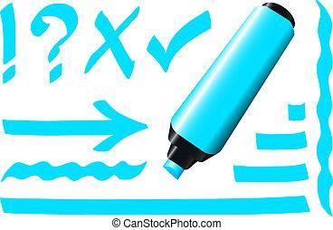 pennarello, fluorescente, blu