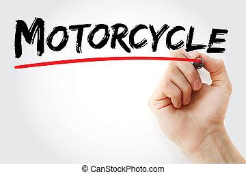 pennarello, mano, motocicletta, scrittura