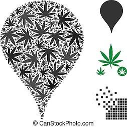 pennarello, mappa, foglie, canapa, mosaico