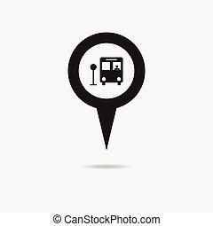 pennarello, mappa, icon., autobus