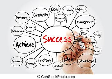 pennarello, mappa, mente, successo, diagramma flusso