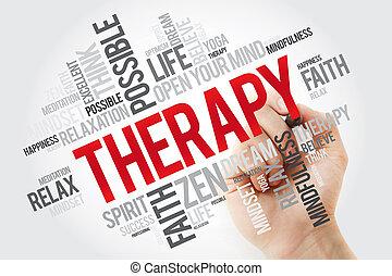 pennarello, terapia, parola, nuvola