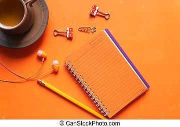 penne, fondo, aperto, blocco note, arancia colorita
