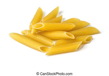 penne isolated on white background close up