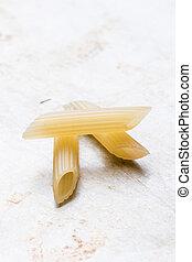 penne on a steel plate