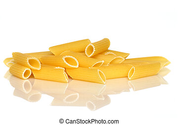 Close up of penne over white background with reflection