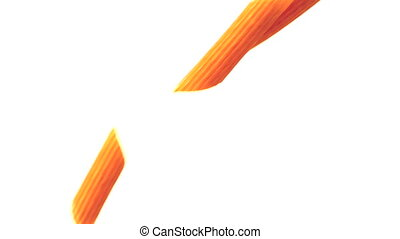 Penne pasta pouring against white background in slow motion
