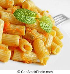 penne, rigate, mit, tomatensoße