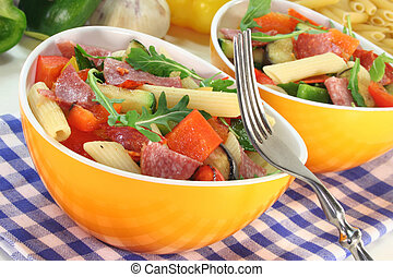 Pasta salad with roasted mediterranean vegetables and arugula