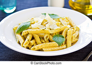 Penne in Pesto sauce with grated Parmesan on top