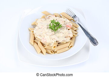 Penne with white sauce and a fork