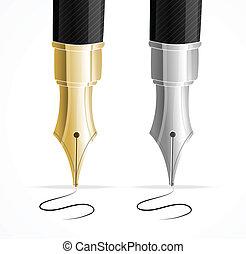 pennen, op, vector, fontijn, handtekening, afsluiten