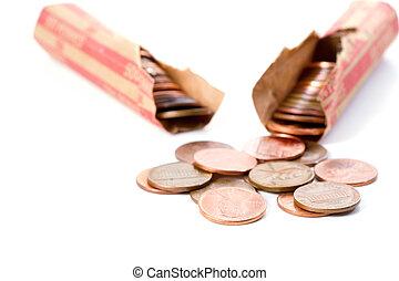 Broken rolls of pennies against white background