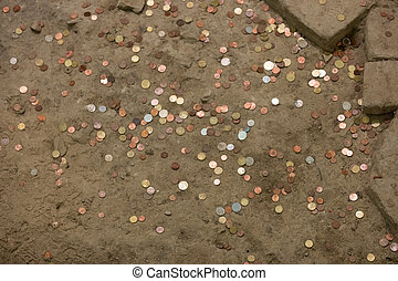 Pennies  in the ground