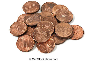 Pennies - Pile of US one cent coins, over white background.