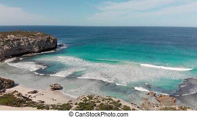 Pennington Bay, Kangaroo Island. Aerial view of beautiful beach with crystal clear waters, Australia