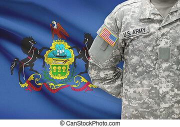 pennsylvania, -, állam, bennünket, katona, lobogó, háttér, amerikai