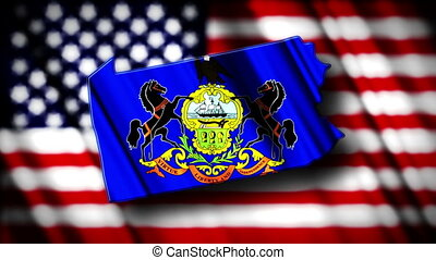 Pennsylvania 03 - Flag of Pennsylvania in the shape of...