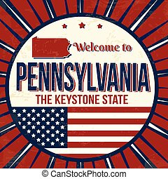 pennsylvania, affisch, välkommen, grunge, årgång